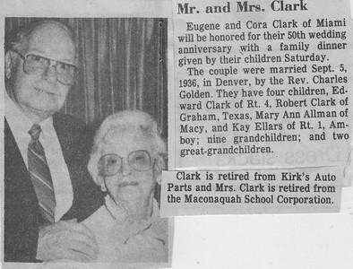 50th Wedding Anniversary - Eugene & Cora (Plothow) Clark