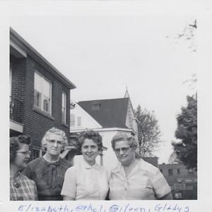 Elizabeth (Brown) Clark, Ethyl (Robertson) Clark, Eileen (Clark) Sullivan & Gladys (Clark) Kile
