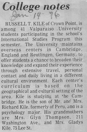 College Notes - Russell T  Kile - 14JAN1976