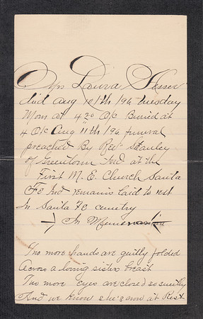 Handwritten memorial For Laura (Dallas) Hesser