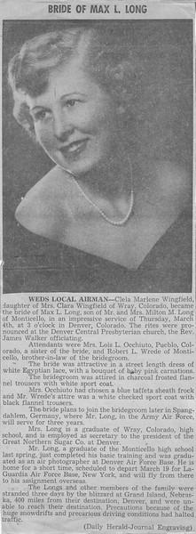 Bride of Max L Long - Weds Local Airman - Clela Marlene Wingfield