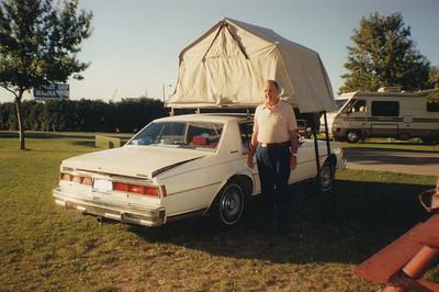 Ellis & his car tent 1989