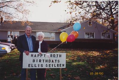 Ellis & Eileen with birthday sign
