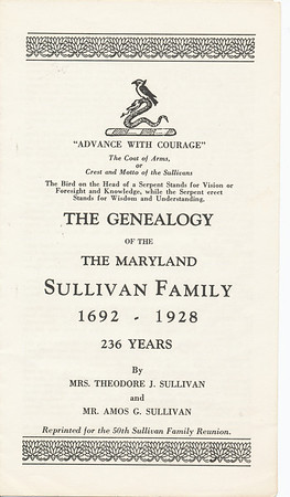 The Genealogy of The Maryland Sullivan a