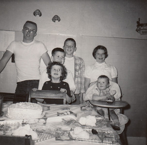 Eddie, Bobbie, MaryAnn, & Kay Clark plus Max & Jane Sullivan - Kays First Birthday - December 17, 1955
