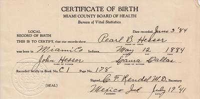Birth Certificate - Pear B  Hesser