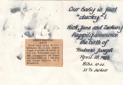Birth Announcement - Andrew Hiller - 1984 - B