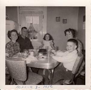 Eilee, Ellis, Jane, Jean, & Max Sullivan - Max's 7th Birthday - March 8, 1956