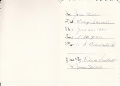 Baby Show invitation for Jane Hiller - June 25, 1980 - 002