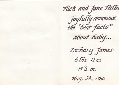 Birth Announcement - Zachary Hiller - 1980 - B