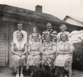 Eight Robertson Kids - Front row-  Gretnam  Vera, Rowena, Chloie, - 2nd row - Emmett, Goldia, Cecil, Ethel - August 5, 1951_