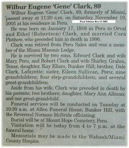 Obituary - Wilber Eugene 'Gene' Clark 17Jan1916-19Nov2005