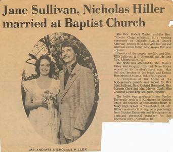 Newspaper (Jane Sullivan weds)