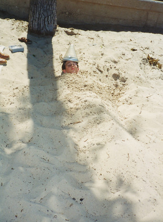 Jacob Hiller Aug 1999 (Buried in Sand at Indiana Sand Dunes)