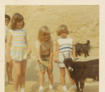 Ramona, Shari & Annette with a goat 1970