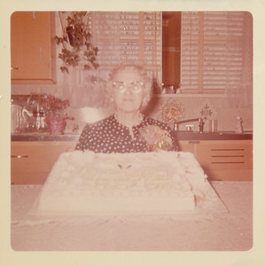 Ethel Clark with Anniversary Cake