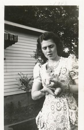 Eileen Clark & Mischief the cat (8-5-1941)
