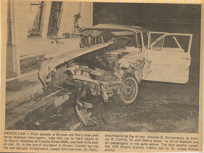 Newspaper 1971 Car Crash