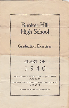 Bunker Hill High School Class of 1940 Graduation (Cover)