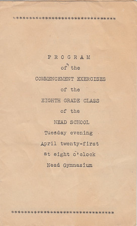 Nead School - 8th Grade Commencement Program (Cover)  - April 21, 1936