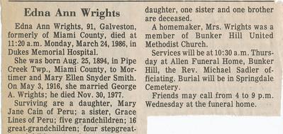 Newspaper (Edna Ann Wrights)
