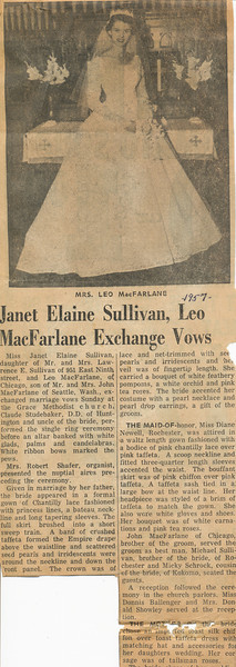 Newspaper Wedding announcement 1957 part a