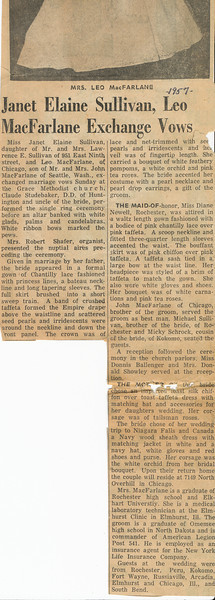 Newpaper Wedding announcment 1957 part b