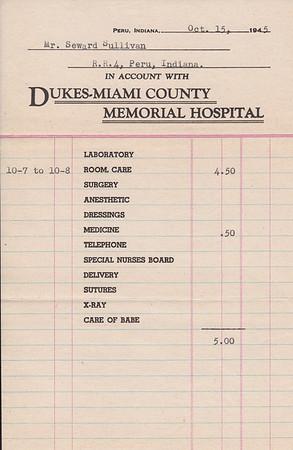 Final Bill for Seward Sullivan from Dukes Hospital - 15OCT1945