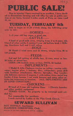 Public Sale Flier - Seward Sullivan - 09FEB1943