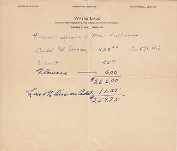Bill for Funeral Services for Iona Bowyer Sullivan 1940