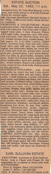Estate Auction Notice - Estate of Earl Sullivan - 22MAY1982