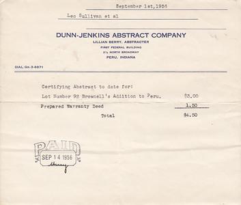 Abstract Receipt to Leo Sullivan et al - 01SEP1956