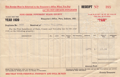 Receipt - Pipe Creek Township - 1920 Property Taxes - Seward Sullivan - 25APR1921
