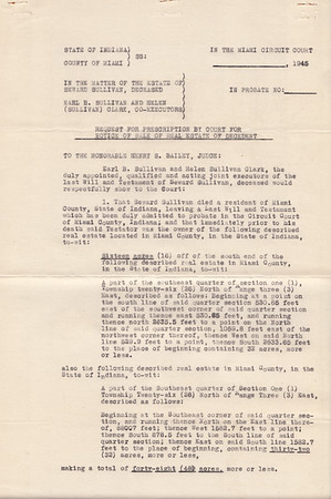 Miami County, Indiana Probate - Estate of Seward Sullivan - 1945 - Page 2 of 5