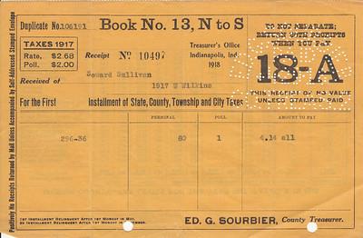 Receipt - Pipe Creek Township - 1917 Property Taxes - Seward Sullivan - 29APR1918