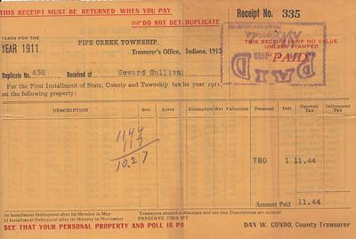 Receipt - Pipe Creek Township - 1911 Property Taxes - Seward Sullivan - 09APR1912