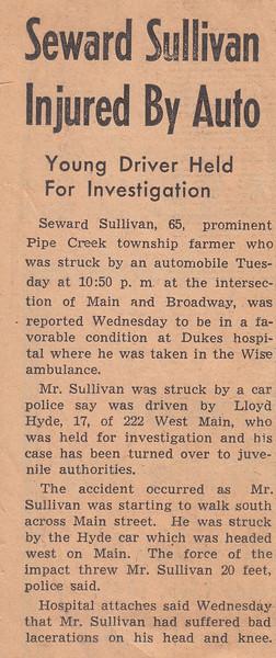 Newspaper Clipping - Seward Sullivan Injured by Auto - 1942