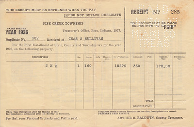 Receipt - Pipe Creek Township - 1926 Property Taxes - Charles S Sullivan - 30APR1927