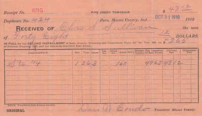 Receipt - Pipe Creek Township - 1909 Property Taxes - Charles S Sullivan - 31OCT1910