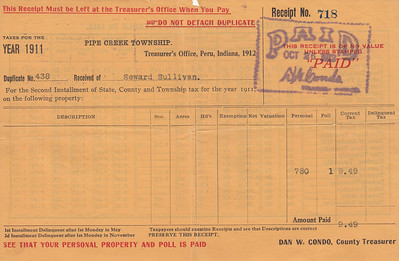 Receipt - Pipe Creek Township - 1911 Property Taxes - Seward Sullivan - 26OCT1912