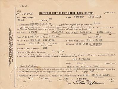 Certified Copy Court ORder Book Record - Seward Sullivan - 15OCT1943