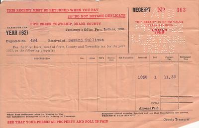 Receipt - Pipe Creek Township - 1921 Property Taxes - Seward Sullivan - 29APR1922