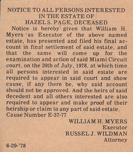 Notice of Estate of Hazel (Sullivan) Page - 29JUN1978