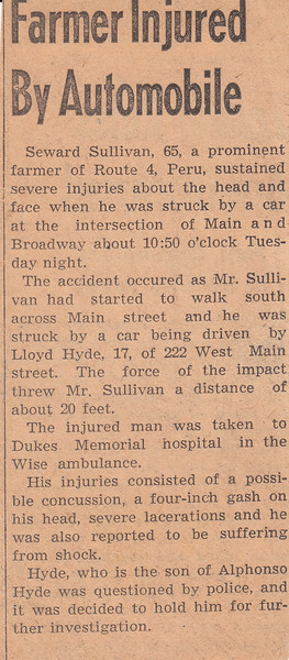 Newspaper Clipping - Farmer Injured by Automobile - 1942