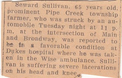 Newspaper Clipping - Seward Sullivan is Injured - 1942a