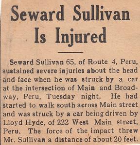 Newspaper Clipping - Seward Sullivan is Injured - 1942