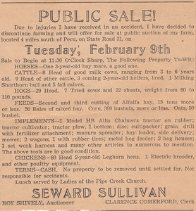 Newspaper Clipping - Notice of Public Sale - 09FEB1943