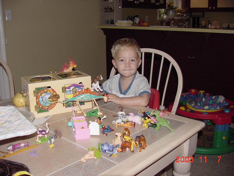 Ian loves toys more then the other boys do. He was in hog heaven the evening of his party.  He had so much fun looking over all his toys!  The shirt he has on is the same shirt Elliot would later wear all the time.