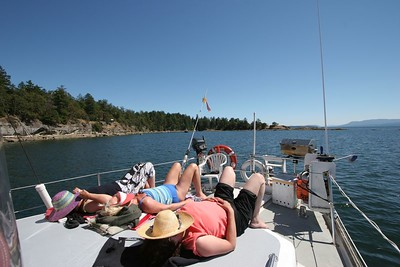 Sunning on deck in the Gulf Islands