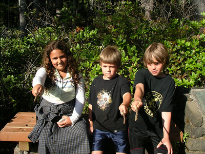 We played Harry Potter on the hike back. Here is Hermione, Ron, and Harry.  I was Madam Pomfrey, Lisa was Professor McGonagall, and Dad was Dumbledore.   Lucas is Neville, and Joel is Hagrid.